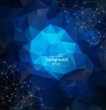 Low poly connecting and dots background. Vector tech design. Abstract Dark blue Polygonal Space Background with Connecting Dots and Lines. Geometric Polygonal royalty free illustration