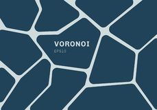 Abstract dark blue voronoi diagram background. Geometric Mosaic backdrop and wallpaper vector illustration