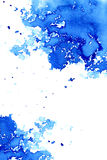 Abstract dark blue watery frame. Aquatic backdrop. Ink drawing. Watercolor hand drawn image. Wet splash. White background royalty free illustration