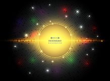 Abstract of dark circle square pattern technology in futuristic. Colorful technology with mix spots of lights color background. vector eps10 vector illustration