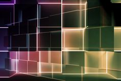 Abstract dark colorful background, cubes 3 d. Abstract dark colorful background with colorful glowing cubes installation. 3d illustration stock illustration
