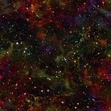 Abstract dark colorful universe.  Nebula night starry sky. Multicolor outer space.  Texture background. Seamless illustration. Abstract dark colorful universe Stock Photography