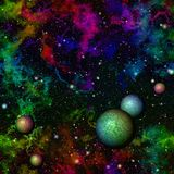 Abstract dark colorful universe.  Rainbow night starry sky. Multicolor outer space.  Texture background. Seamless illustration. Stock Image
