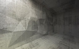 Abstract dark concrete 3d interior with polygonal structure Stock Photography