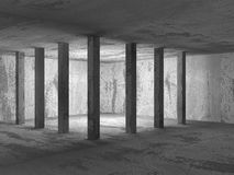Abstract dark concrete empty room interior. 3d render illustration Royalty Free Stock Photography