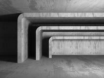 Abstract dark concrete empty room interior. 3d render illustration Stock Photography
