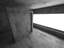 Abstract dark concrete empty room interior with light. 3d render illustration Royalty Free Stock Images
