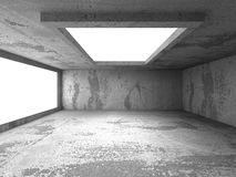 Abstract dark concrete empty room interior with lights. 3d render illustration Stock Photos