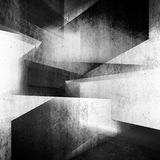 Abstract dark concrete interior background 3d art. Abstract dark concrete interior background, intersected walls and girders, square illustration with double Stock Image