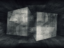 Abstract dark concrete room 3d background Stock Photography