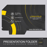 Abstract dark corporate folder with die cut, technology pattern Stock Image