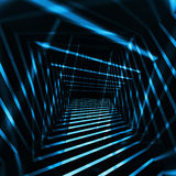Abstract dark 3d interior with blue night light beams Stock Images