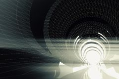 Abstract dark digital tunnel background 3 d. Abstract dark digital tunnel background, 3d render illustration Royalty Free Stock Photo