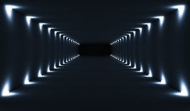 Abstract dark empty 3d tunnel interior. Abstract dark empty tunnel interior perspective with spot lights illumination. Digital 3d illustration stock illustration