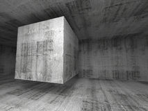 Abstract dark gray concrete room 3d background. Illustration with flying cube stock illustration