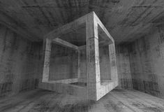 Abstract dark gray concrete room interior. 3d flying cube. Abstract dark gray concrete room interior. 3d background illustration with flying empty beam cube Royalty Free Stock Photography