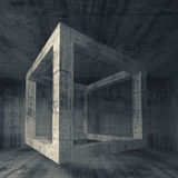 Abstract dark gray concrete room interior. 3d flying cube. Abstract dark gray concrete room interior. 3d square background illustration with flying empty beam royalty free illustration