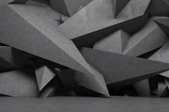 Abstract dark gray spikes interior. Empty room interior with sharp dark gray spikes forming a wall. Concrete floor. Concept of a modern design. 3d rendering mock Stock Images