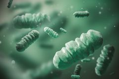 Abstract dark green bacteria over dark green. Abstract dark green bacterium over blurred green bacteria background. Concept of medicine, healthcare and science stock illustration