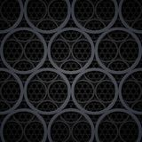 Abstract dark grey metal circles vector background Stock Photos