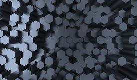Abstract Dark Hexagons Background Top View Stock Photography