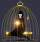 Abstract dark lady and golden cage Stock Photos