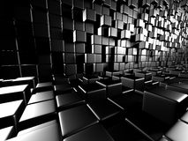 Abstract Dark Metallic Cubes Wall Background. 3d Render Illustration Stock Image