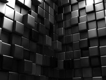 Abstract Dark Metallic Cubes Wall Background. 3d Render Illustration Royalty Free Stock Photo
