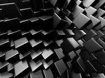 Abstract Dark Metallic Cubes Wall Background. 3d Render Illustration Royalty Free Stock Photography