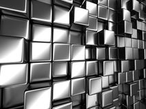 Abstract Dark Metallic Cubes Wall Background. 3d Render Illustration Stock Photo