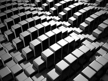 Abstract Dark Metallic Cubes Wall Background. 3d Render Illustration Royalty Free Stock Images
