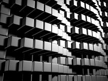 Abstract Dark Metallic Cubes Wall Background. 3d Render Illustration Stock Images