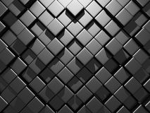 Abstract Dark Metallic Cubes Wall Background. 3d Render Illustration Stock Photos