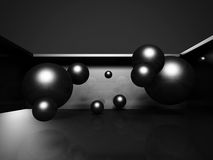 Abstract Dark Metallic 3d Spheres Background Stock Image