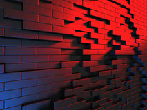 Abstract Dark Metallic Red Blue Cubes Wall Background. 3d Render Illustration royalty free illustration