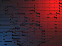 Abstract Dark Metallic Red Blue Cubes Wall Background Royalty Free Stock Photo