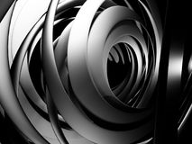 Abstract Dark Metallic Round Circles Design Background. 3d Render Illustration Stock Photography
