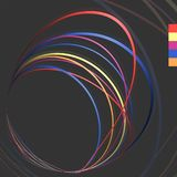 Pattern with red, yellow, cerise, blue and orange thin circles. Abstract dark pattern with red, yellow, cerise, blue and orange thin circles. Vector stock illustration
