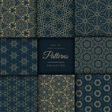 Abstract dark patterns pack in floral style in gold color Royalty Free Stock Photos
