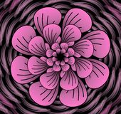 Abstract dark pink vector flower pattern, shape in fractal style on black background. High contrasting decorative tile with 3d effect Stock Photos