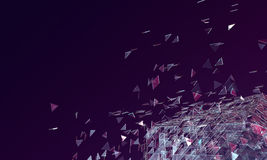 Abstract Dark Purple Background with Broken Glass Platonic and T. Abstract Dark Purple Background, Broken Glass Platonic with Triangle Particles in Space. 3D Royalty Free Stock Image