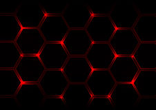 Abstract  dark red  background with hexagons and red light Royalty Free Stock Photos