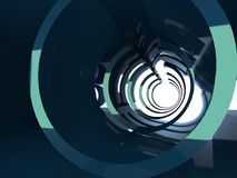 Abstract dark shining 3d tunnel interior. Abstract dark shining tunnel interior with bright reflections. Digital background, 3d illustration Royalty Free Stock Photo