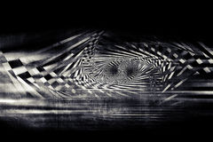 Abstract dark spirals pattern over concrete. Wall, optical illusion, 3d illustration royalty free illustration