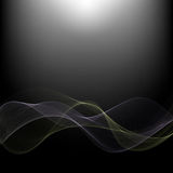 Abstract dark technology background with a bright glow.Blue and green waves.  Stock Photography