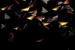 Glass piece pattern background. Abstract dark triangular glass pieces pattern background. Art concept. 3D Rendering Royalty Free Stock Image