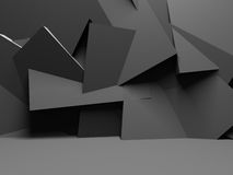 Abstract Dark Wall With Chaotic Polygonal Relief  Background. 3d Render Illustration Royalty Free Stock Photo