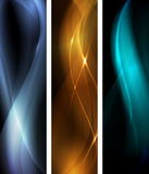 Abstract dark wave banner set vector illustration