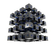 Abstract Data Cubes. Abstract cubes organized into a bigger cube, connected with bars, representing data analysis, data mining, data repository Royalty Free Stock Image