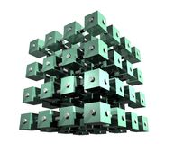 Abstract Data Cubes. Abstract cubes organized into a bigger cube, connected with bars, representing data analysis, data mining, data repository Stock Image